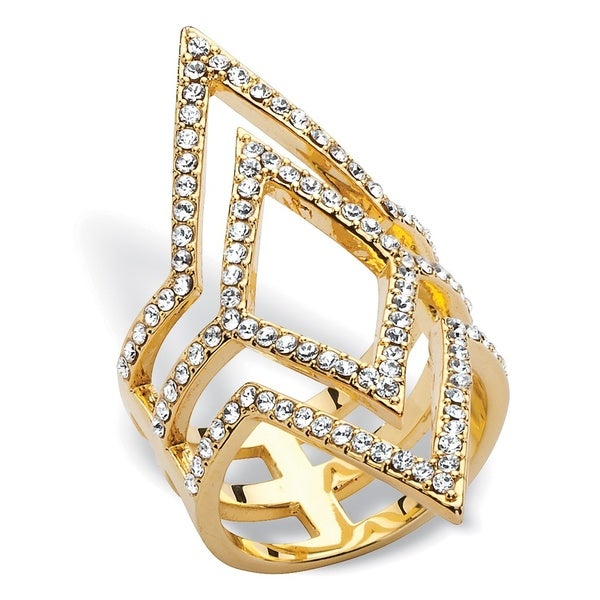 PalmBeach Pave Crystal Geometric Cocktail Ring MADE WITH SWAROVSKI ELEMENTS 14k Yellow Gold-Plated Bold Fashion