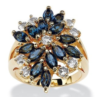 Marquise-Cut Sapphire Blue and White Crystal Cluster Cocktail Ring 18k Gold-Plated Color F