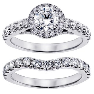 Platinum 3ct TDW Round Diamond Bridal Ring Set (G-H, SI1-SI2)
