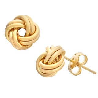 Gioelli Gold over Silver Love Knot Earrings