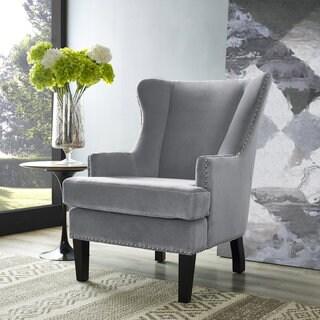 Soho Grey Velvet Wing Back Accent Chair