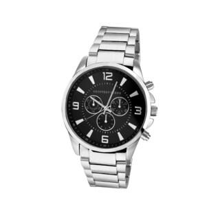 Geoffrey Beene Men's GB8035SLBK Silvertone Bracelet Black Dial Watch