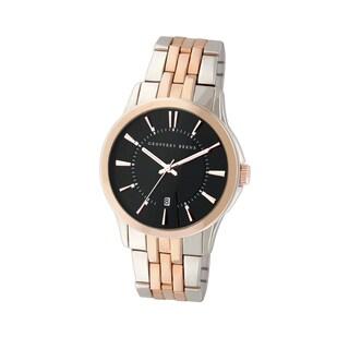 Geoffrey Beene Men's GB8069TTRBK Two-tone Bracelet Black Dial Watch