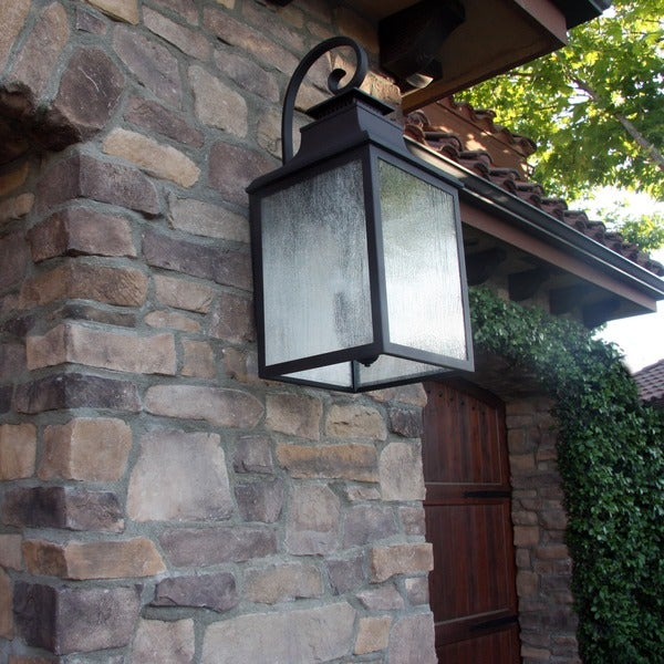 Morgan Rustic Bronze Exterior Light Fixture with Clear Seedy Glass