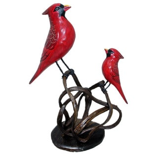 Cardinal and Baby Perched on Woven Branch Carved Decorative Figurine (Indonesia)