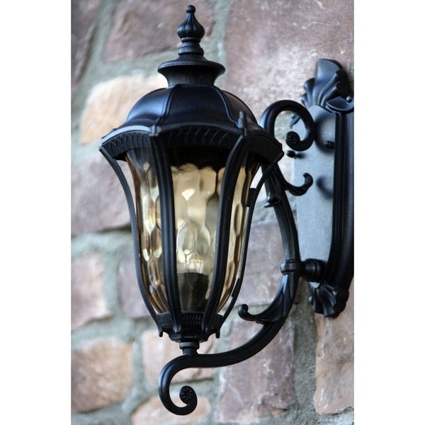 Lane Weathered Bronze Exterior Light Fixture with Gold Stone Glass
