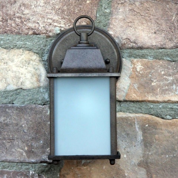 Chaz Exterior Outdoor Light Fixture Brown Finish with Frosted Glass