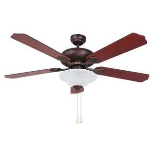 Bodi 52-inch Rounded Body Ceiling Fan with Frosted White Alabaster Glass with Reversible Fan Blades Elm/Cherry