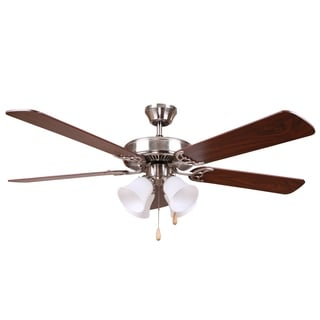 Bright Brushed Nickel Finish 52inch Ceiling Fan with Frosted Alabaster Glass and Reversible Blades