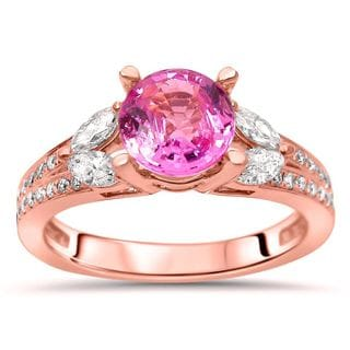 Noori 18k Rose Gold 1/2ct TDW Diamond and Pink Sapphire Engagement Ring (F-G, SI1-SI2)