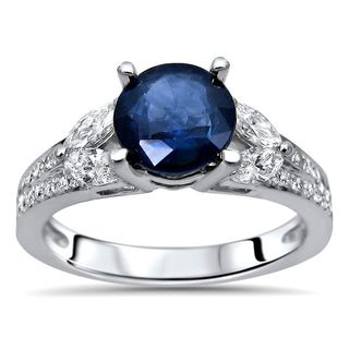 Noori 18k White Gold Blue Sapphire and 1/2ct TDW Diamond Engagement Ring (F-G, SI1-SI2)