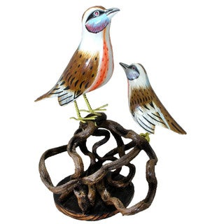 Bird and Baby Perched on a Carved Branch Decorative Figurine (Indonesia)