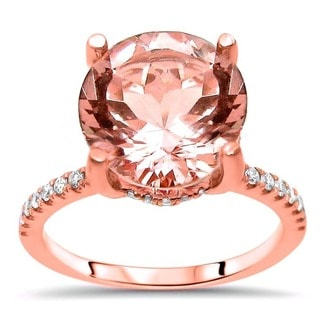 Noori 14k Rose Gold Morganite and 1/3ct TDW Diamond Engagement Ring (G-H, SI1-SI2)