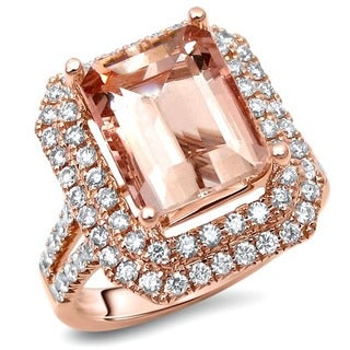 Noori 14k Rose Gold Emerald-cut Morganite and 4/5ct TDW Diamond Engagement Ring (F-G, SI1-SI2)