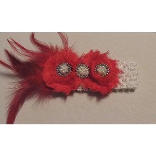 Shabby Chic Red Flower Headband