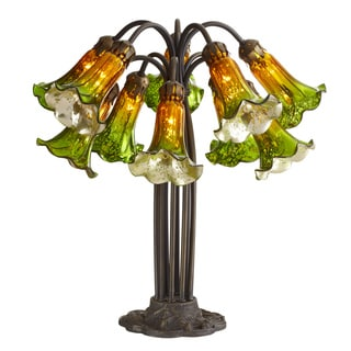 21 inch high Mercury Glass 10 Lily Downlight Table Lamp Green and Amber