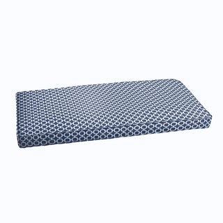 Navy Chainlink Abstract Indoor/ Outdoor Corded Bench Cushion