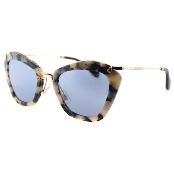 Miu Miu MU 10NS HAO4N0 Nior Sand Havana Plastic Cat-Eye Light Blue Mirror Lens Sunglasses