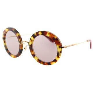 Miu Miu MU 13NS UA54M2 Sand Light Havana Plastic Round Pink Gold Mirror Lens Sunglasses