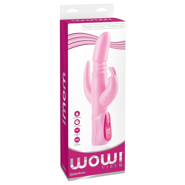 Wow Vibe Triple Ecstacy Thruster Pink 5.5-inch Waterproof Silicone Rabbit Vibrator 18194189