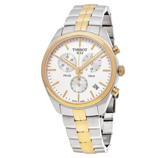 Tissot Men's T101.417.22.031.00 'PR 100' Silver Dial Stainless Steel Two Tone Chronograph Swiss Quartz Watch
