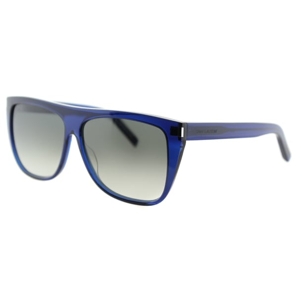 Saint Laurent SL 1 005 Flattop Transparent Blue Plastic Rectangle Blue Gradient Lens Sunglasses