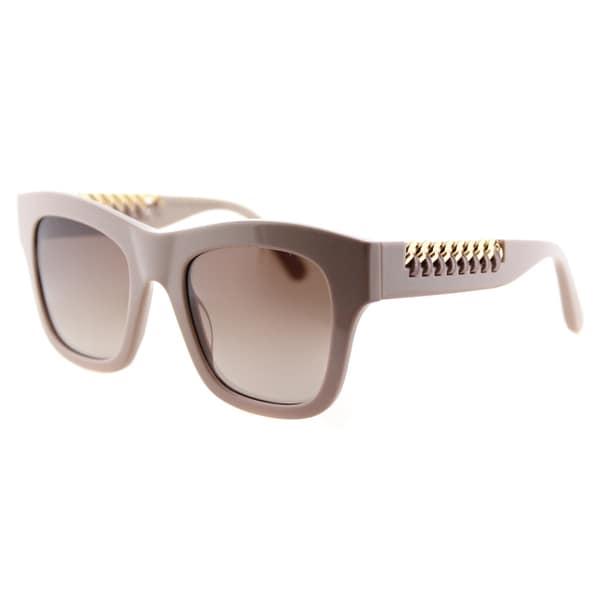 Stella McCartney SC 0011S 004 Falabella Matte Pink Plastic Square Pink Mirror Lens Sunglasses