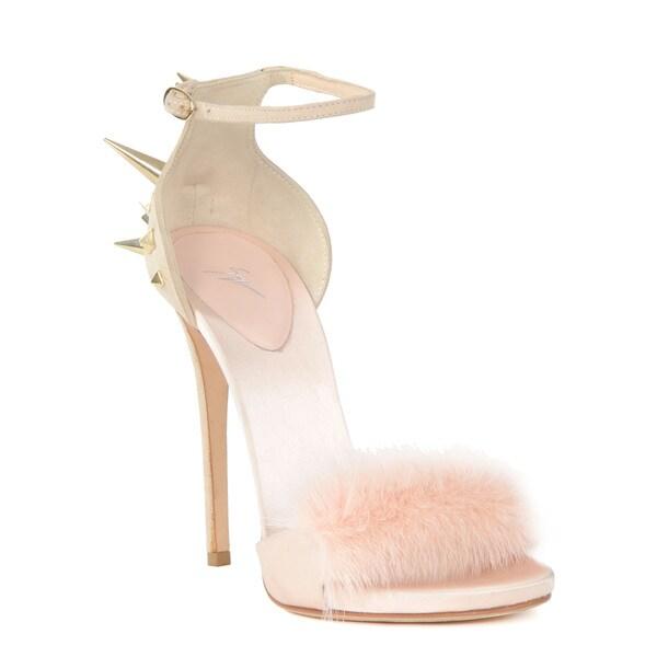 Giuseppe Zanotti Pink Fur Heel Sandal Size 8.5(As Is Item)