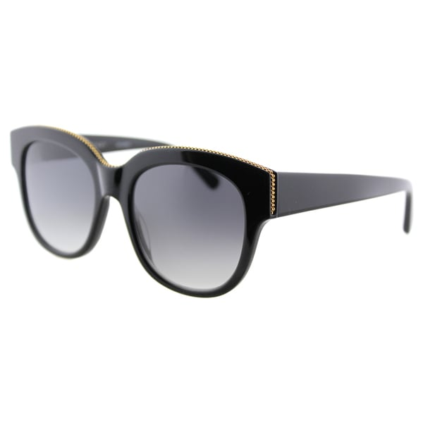 Stella McCartney SC 0007S 001 Falabella Shiny Black Plastic Square Grey Gradient Lens Sunglasses