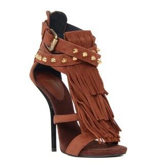 Giuseppe Zanotti Brown Fringe Heel Sandal