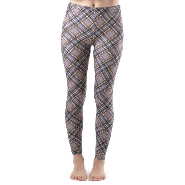 Juniors' Plum Colored Plaid Ankle Leggings