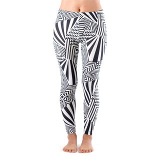 Juniors' Black and White Pattern Footless Leggings