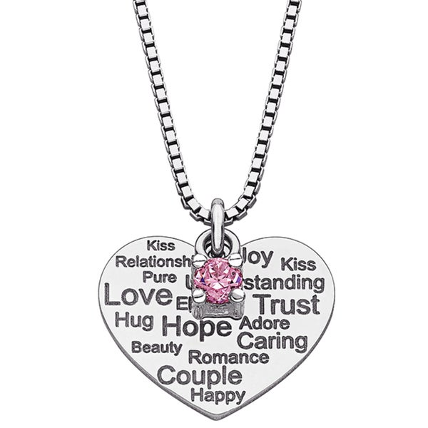 Sterling Silver Sentiment of Love Heart Cubic Zirconia Necklace