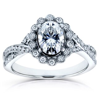 Annello 14k White Gold 7/8ct Oval Brilliant Moissanite and 1/4ct TDW Diamond Antique Unique Engagement Ring (H-I, I1-I2)