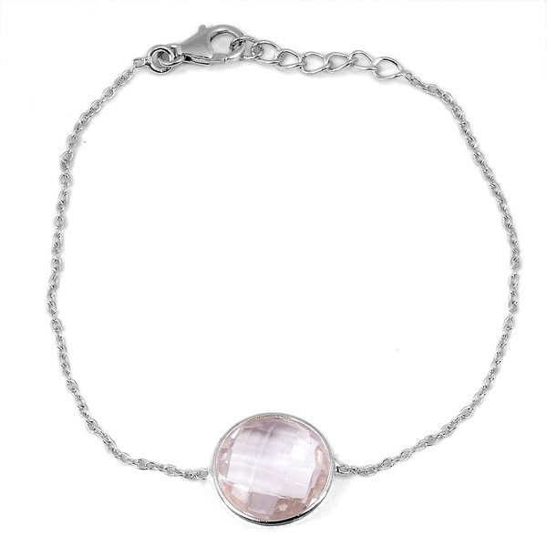 Orchid Jewelry 925 Sterling Silver 10 3/5ct Round-cut Pink Amethyst Gemstone Bracelet