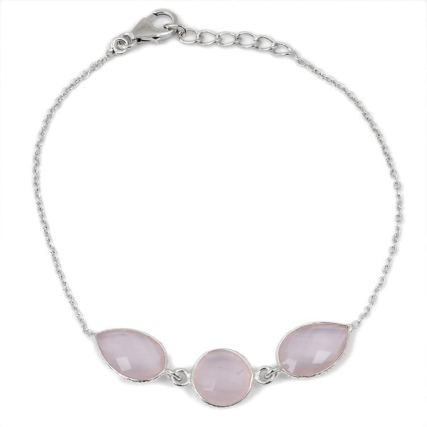 Orchid Jewelry 925 Sterling Silver 10 2/5ct Rose Quartz Gemstone Bracelet