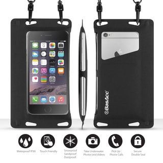 BasAcc Universal Black IPX8 Certified Double Sealing Waterproof Bag with Card Slot For iPhone 6/ 6S/ SE/ Samsung Galaxy S7 Edge