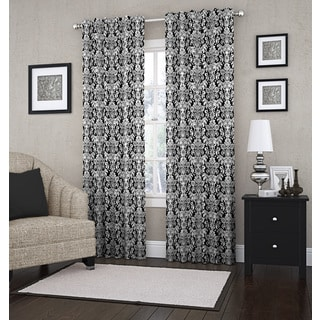 Woven Damask Lined Curtain Panel (Single Panel)