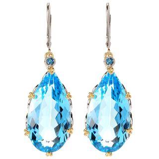 Michael Valitutti Elongated Sky Blue Topaz with London Blue Topaz Earrings