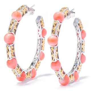 Michael Valitutti Japanese Momo Coral Bead Hoop Earrings