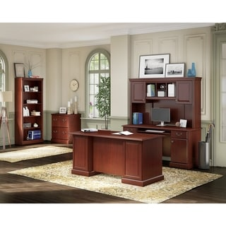 kathy ireland Office by Bush Business Furniture Bennington Manager's Desk, Credenza, Hutch, Lateral File, and Bookcase