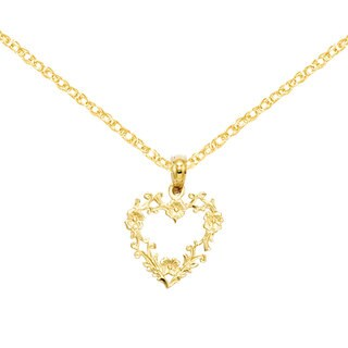 14 Karat Gold Floral Cut-Out Heart Pendant 18-inch Necklace by Versil