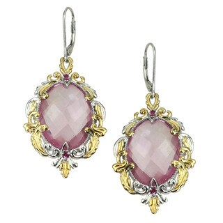 One-of-a-kind Michael Valitutti Kunzite Quartz with Ruby Earrings