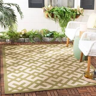 Safavieh Indoor/ Outdoor Courtyard Beige/ Green Rug (2' 7 x 5')