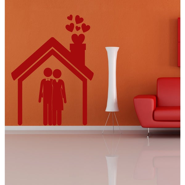 Family house Wall Art Sticker Decal Red