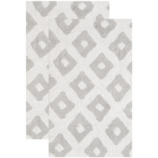 Safavieh Handmade Plush Master Bath Pearl Grey Cotton Rug (1' 9 x 2' 10)