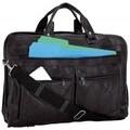 Maxam Brand Italian Mosaic Design Genuine Black Leather Briefcase