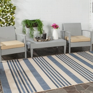 Safavieh Indoor/ Outdoor Courtyard Beige/ Blue Rug (5' x 8')