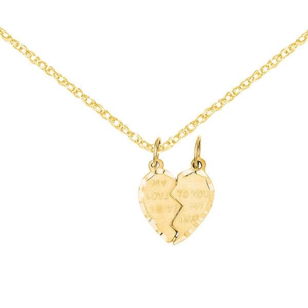 Versil 14k Gold Break Apart Heart Charm 18-inch Necklace