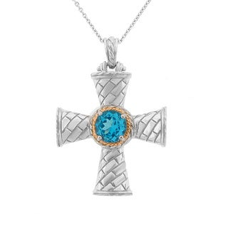 Meredith Leigh Sterling Silver and 14k Yellow Gold Accent Blue Topaz Cross Pendant